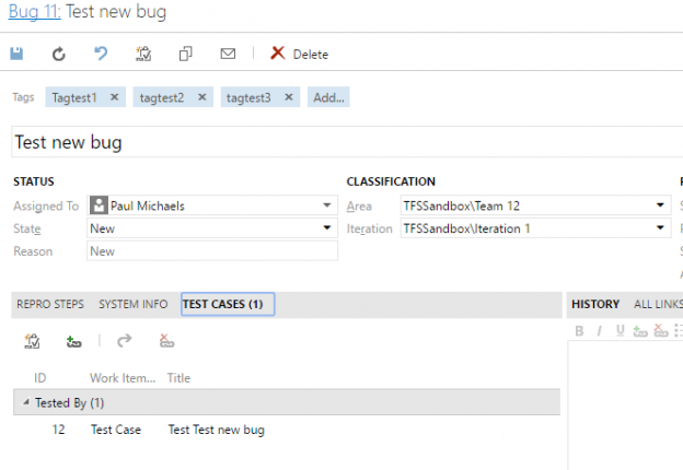 Programmatically creating a test case for a work item using the TFS